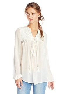 Lucky Brand Women's Ivory Tassel Top