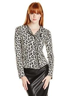 Lucky Brand Women's Jacquard Leopard Jacket