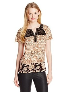 Lucky Brand Women's Kyra Studded Yoke Top