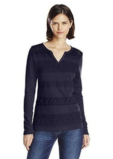 Lucky Brand Women's Lace Stripe Thermal Top