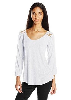 Lucky Brand Women's Lace Yoke Top