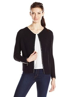 Lucky Brand Women's Leather-Trim Sweater