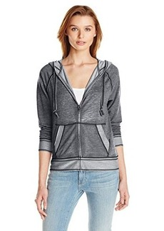 Lucky Brand Women's Lotus Burnout Zip Up Hoodie