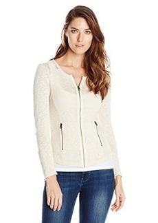 Lucky Brand Women's Mesh Moto Sweater
