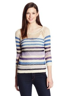 Lucky Brand Women's Mesh Striped Sweater