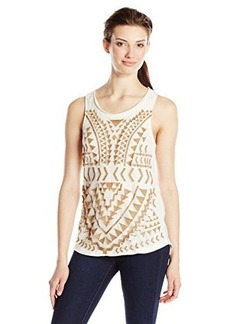 Lucky Brand Women's Metallic Embroidered Tank