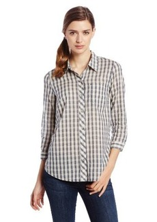 Lucky Brand Women's Mixed Gingham Plaid Top