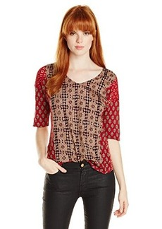 Lucky Brand Women's Mixed Woodblack Top