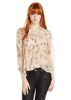 Lucky Brand Women's Pink Paisley Peasant Top