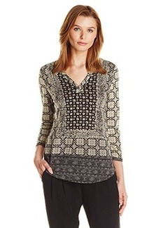 Lucky Brand Women's Placed Scarf Top