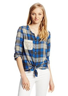 Lucky Brand Women's Plaid Tie Front Top