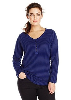 Lucky Brand Women's Plus-Size Carina Stripe Slub Henley Top