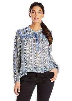 Lucky Brand Women's Plus-Size Chevron Blue Print Top