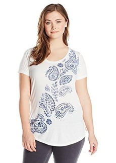 Lucky Brand Women's Plus-Size Climbing Paisleys Tee