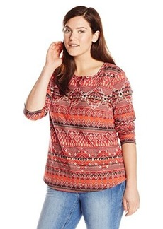 Lucky Brand Women's Plus-Size Intarsia Printed Thermal Top