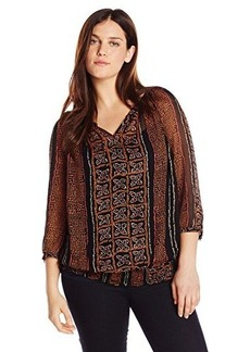 Lucky Brand Women's Plus-Size Kaylee Peasant Top