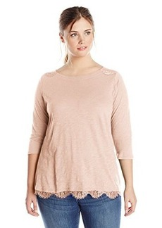 Lucky Brand Women's Plus-Size Lace Trim Top