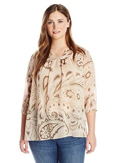 Lucky Brand Women's Plus-Size Pink Paisley Peasant Top