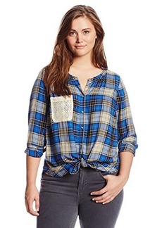 Lucky Brand Women's Plus-Size Plaid Tie Front Top