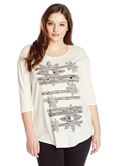 Lucky Brand Women's Plus-Size Sketched Floral Tee
