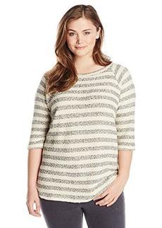 Lucky Brand Women's Plus-Size Striped Active Raglan Sweatshirt
