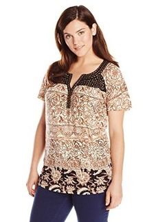 Lucky Brand Women's Plus-Size Studded Yoke Top