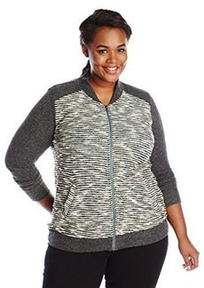 Lucky Brand Women's Plus-Size Sweater Active Bomber Jacket