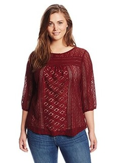 Lucky Brand Women's Plus-Size Tanya Mixed Lace Top