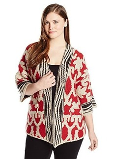 Lucky Brand Women's Plus-Size Textured Poncho Sweater