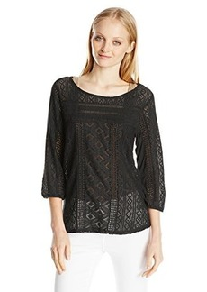 Lucky Brand Women's Tanya Mixed Lace Top
