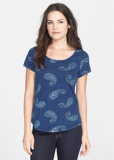 Lucky Brand Woodblock Paisley Print Cotton Tee