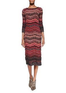 Fancy Ripple-Knit Mid-Calf Dress   Fancy Ripple-Knit Mid-Calf Dress