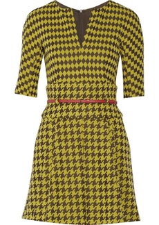 M Missoni Belted houndstooth-print knitted mini dress