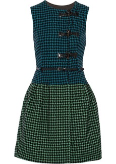 M Missoni Belted houndstooth wool-blend mini dress