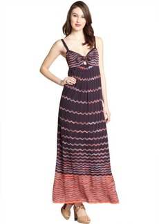 M Missoni black and orange cotton blend wave knit knot neck maxi dress
