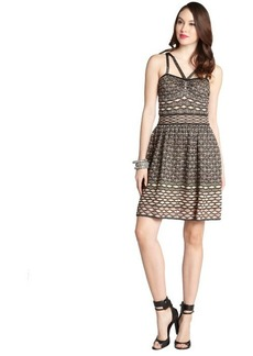 M Missoni black and peach patterned lurex blend strappy sleeveless dress