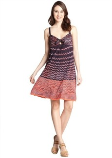 M Missoni black and pink cotton blend wave knot detail dress