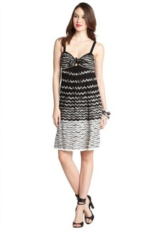 M Missoni black and white cotton blend wave knit knot neck dress