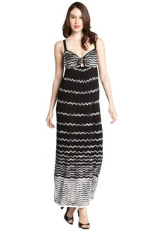M Missoni black and white cotton blend wave knit knot neck maxi dress