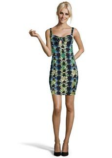 M Missoni black floral print stretch knit sleeveless tank mini dress