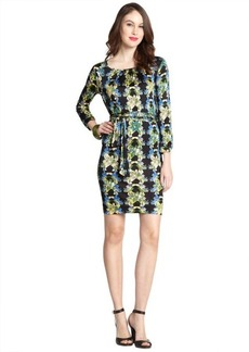 M Missoni black multi-color floral print stretch three-quarter sleeve dress