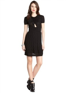 M Missoni black stretch cotton blend keyhole short sleeve dress