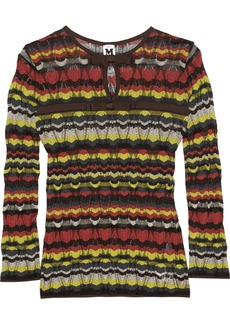 M Missoni Bow-embellished crochet-knit top