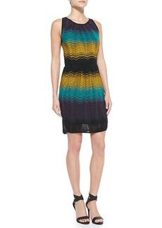 M Missoni Colorblocked Ripple-Knit Sheath Dress