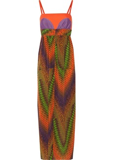 M Missoni Crochet-knit, piqué and printed silk-chiffon maxi dress