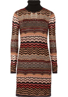 M Missoni Crochet-knit turtleneck mini dress