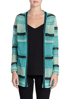 M Missoni Crochet-Trim Sheer Cardigan