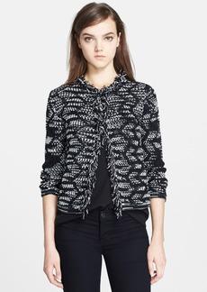M Missoni Crochet Zigzag Jacket with Fringe