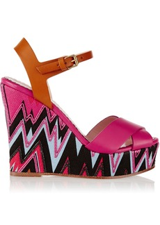 M Missoni Embroidered canvas and leather wedge sandals
