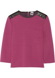 M Missoni Faux leather-paneled jersey top